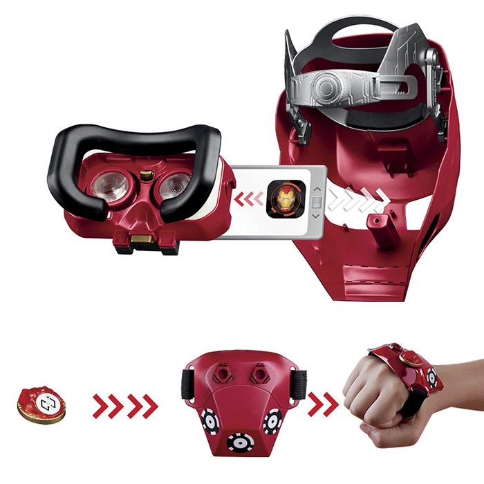 Компоненты шлема виртуальной реальности в виде маски железного человека