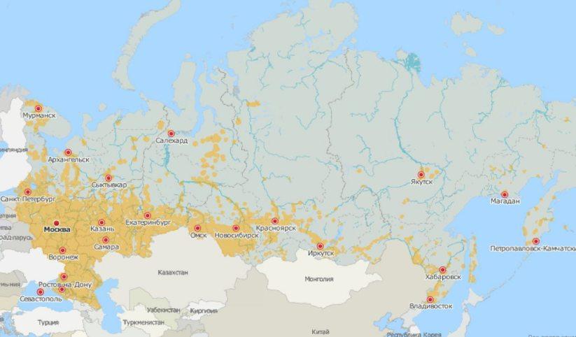 Покрытие LTE в России