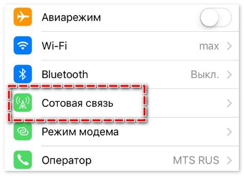 Сотовая связь на Iphone